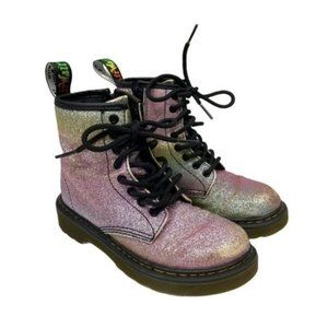 Dr. Martens Glitter J Rainbow Lace Up Boots Girl's